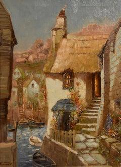 """Oil painting by Godwin Bennett """"A Street in Salcombe, Devon"""""""
