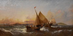 """Oil Painting by Wiiliam Callcott Knell """"Evening French Boats off the Dutch Coast"""