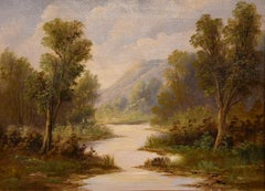 "Oil Painting by A Auguste ""A Tranquil River Landscape"""