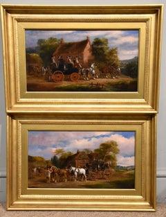 "Oil Painting Pair by Herbert St John Jones ""Coaching Scenes"""