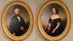 """Oil Painting Pair by Louis Ammy Blanc """"An Elegant Couple"""""""