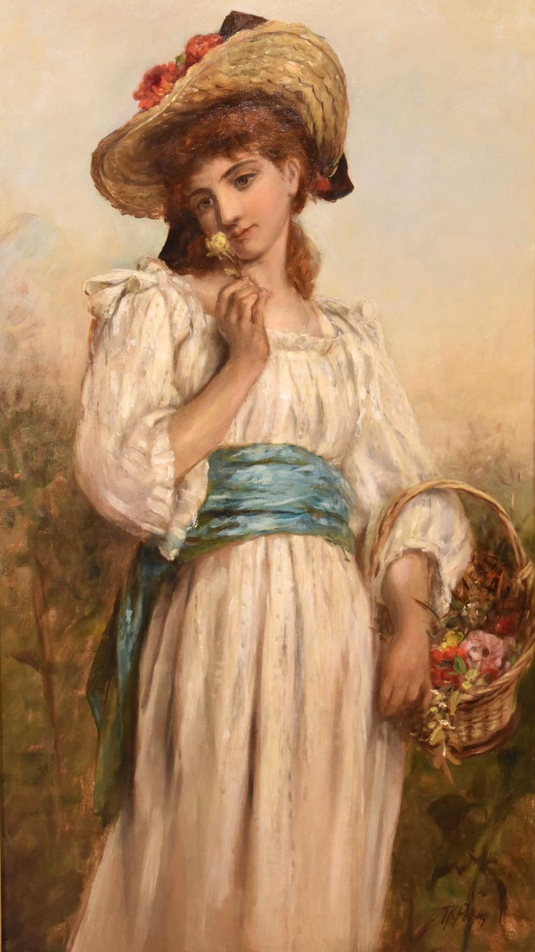 """Sunday Best"" by Thomas Kent Pelham. Thomas Kent Pelham 1831 - 1907 popular painter of figurative scenes especially with pretty girls regular exhibitor RA, RBA and elsewhere. Oil on canvas. Signed fine original frame.  Dimensions unframed height 36"""
