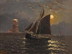 "Oil Painting by John James Everard ""Coastal Scene by Moonlight"""