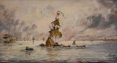 "Oil painting by Adolphe Ragon ""The Spanish Armada .."""