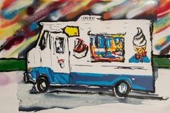 Ice Cream Truck 1, Oil paint on original screen print.