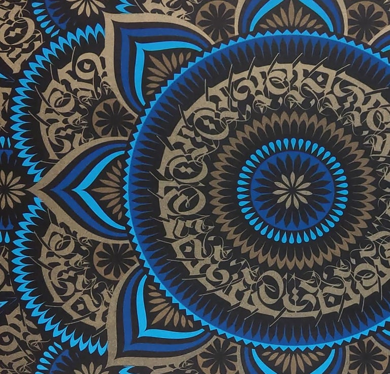 Blue Lotus by Cryptik, Contemporary Street Art Print For Sale 1