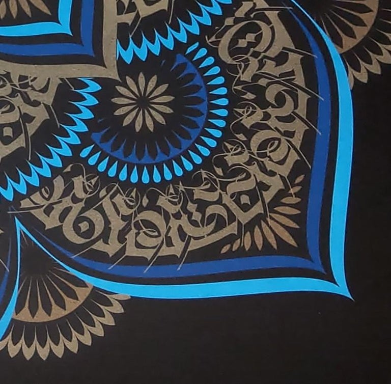 Blue Lotus by Cryptik, Contemporary Street Art Print For Sale 2