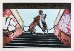 Stairway To Heaven, Josh Keyes Tiger Contemporary Street Art Print
