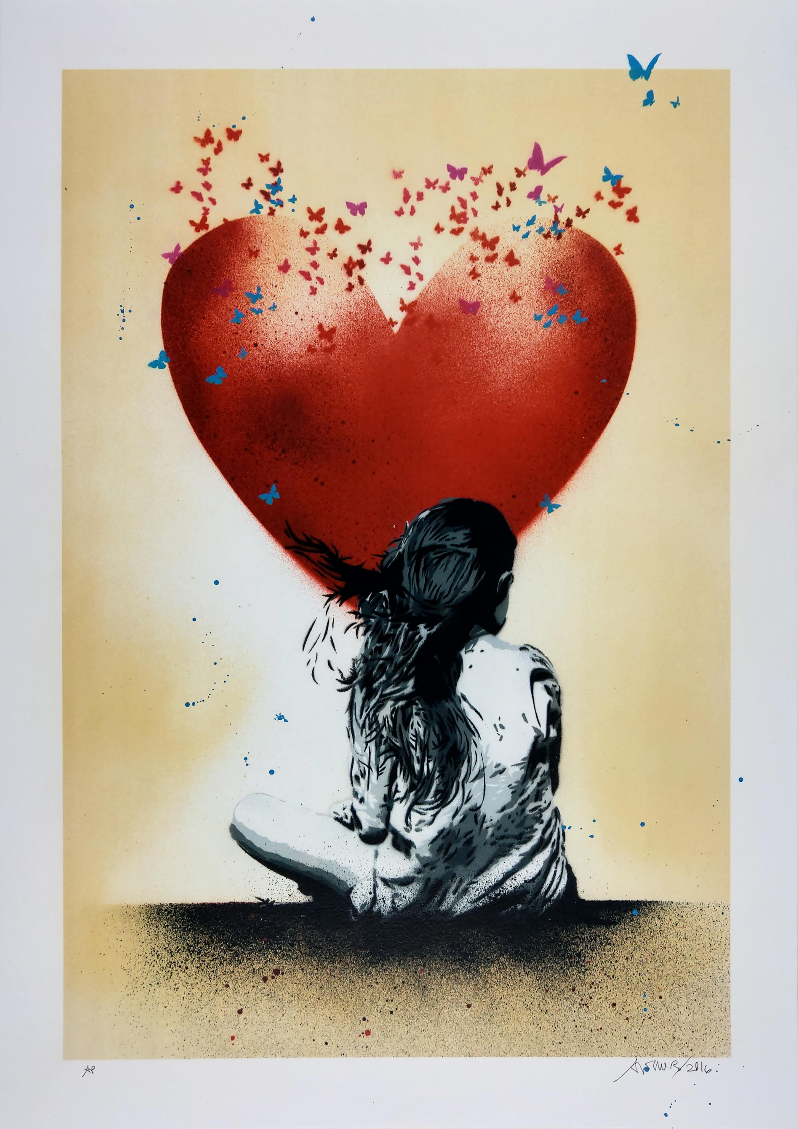 Dream, Red Heart on Gold, by Alessio-B, Contemporary Street Art Print