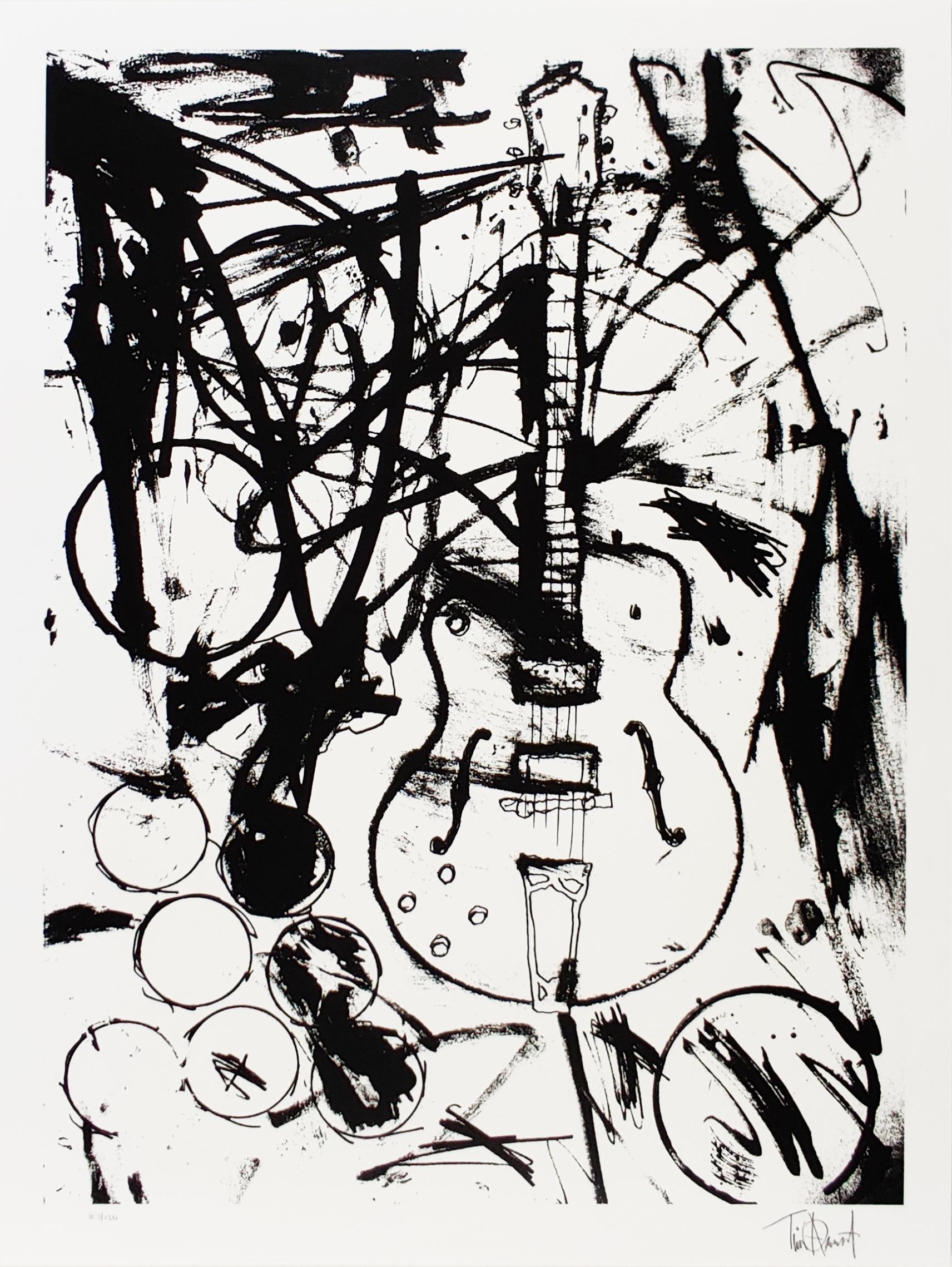 My Country Club Guitar B&W, Tim Armstrong (Rancid) Punk Street Art Print