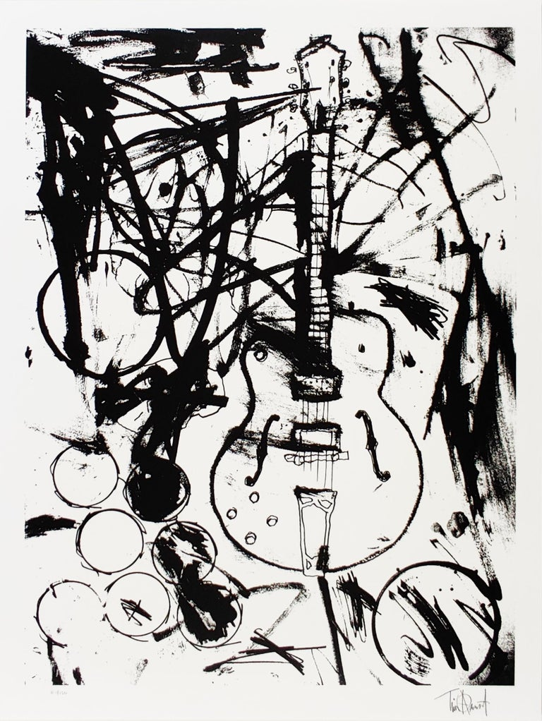 My Country Club Guitar, B&W, by Tim Armstrong, Punk Rock Street Art Print. Comes from an edition of 150 released in 2015. Dimensions of 22 in x 28 in. Four-color hand-pulled silkscreen on Coventry Rag, 100% cotton archival paper. Signed by the