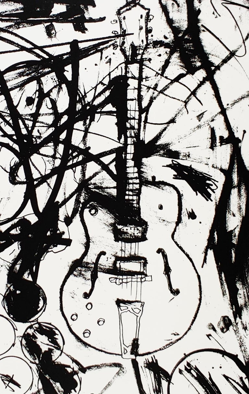 My Country Club Guitar B&W, Tim Armstrong (Rancid) Punk Street Art Print For Sale 1