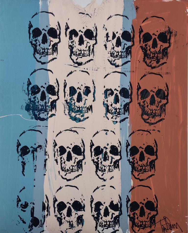 Sixteen Skulls, Tim Armstrong, Punk Rock Street Art Print. Comes from an edition of 100 released in 2016. Dimensions of 20 in x 16 in. Archival pigment print on 100% archival paper Signed by the artist, numbered and embossed.   Tim Armstrong is an
