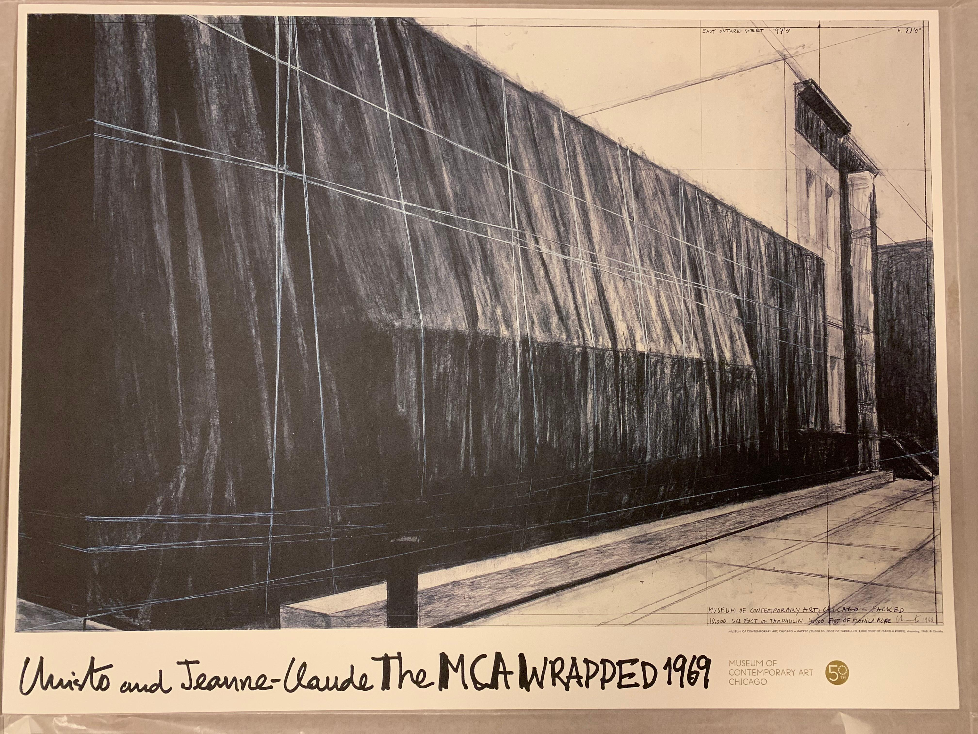 """The MCA """"Wrapped"""" 1969 Christo & Jeanne-Claude Exhibition Poster Contemporary"""