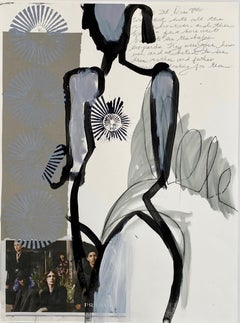 Prada Girl, Abstract Figurative Mixed Media, Works on Paper, Signed