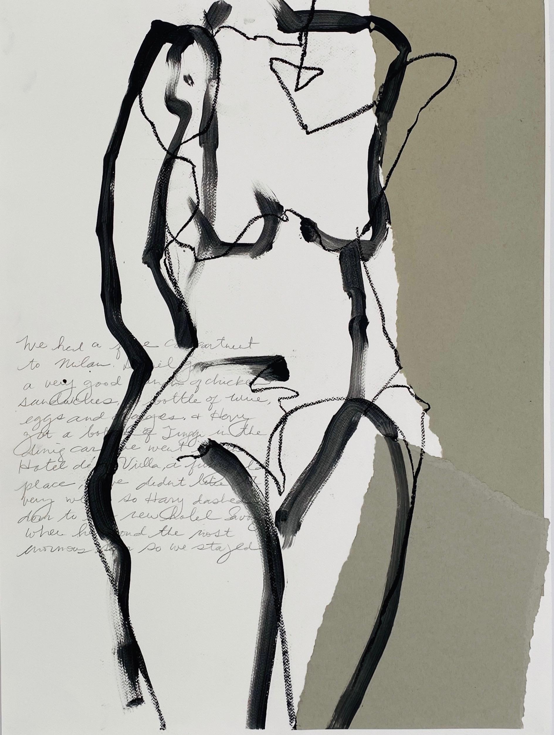 Chicken Sandwiches, Abstract Figurative Mixed Media, Works on Paper, Signed