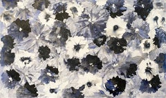 Blue Jean Bloom, 2020, Floral Abstract Painting, Mixed Media on Canvas, Signed