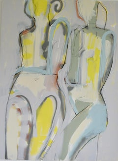 In Step I, Abstract Figurative Painting, Mixed Media on Canvas, Signed