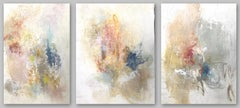 Visions, Intuitions & Decisions Triptych, Abstract Mixed Media on Canvas, Signed
