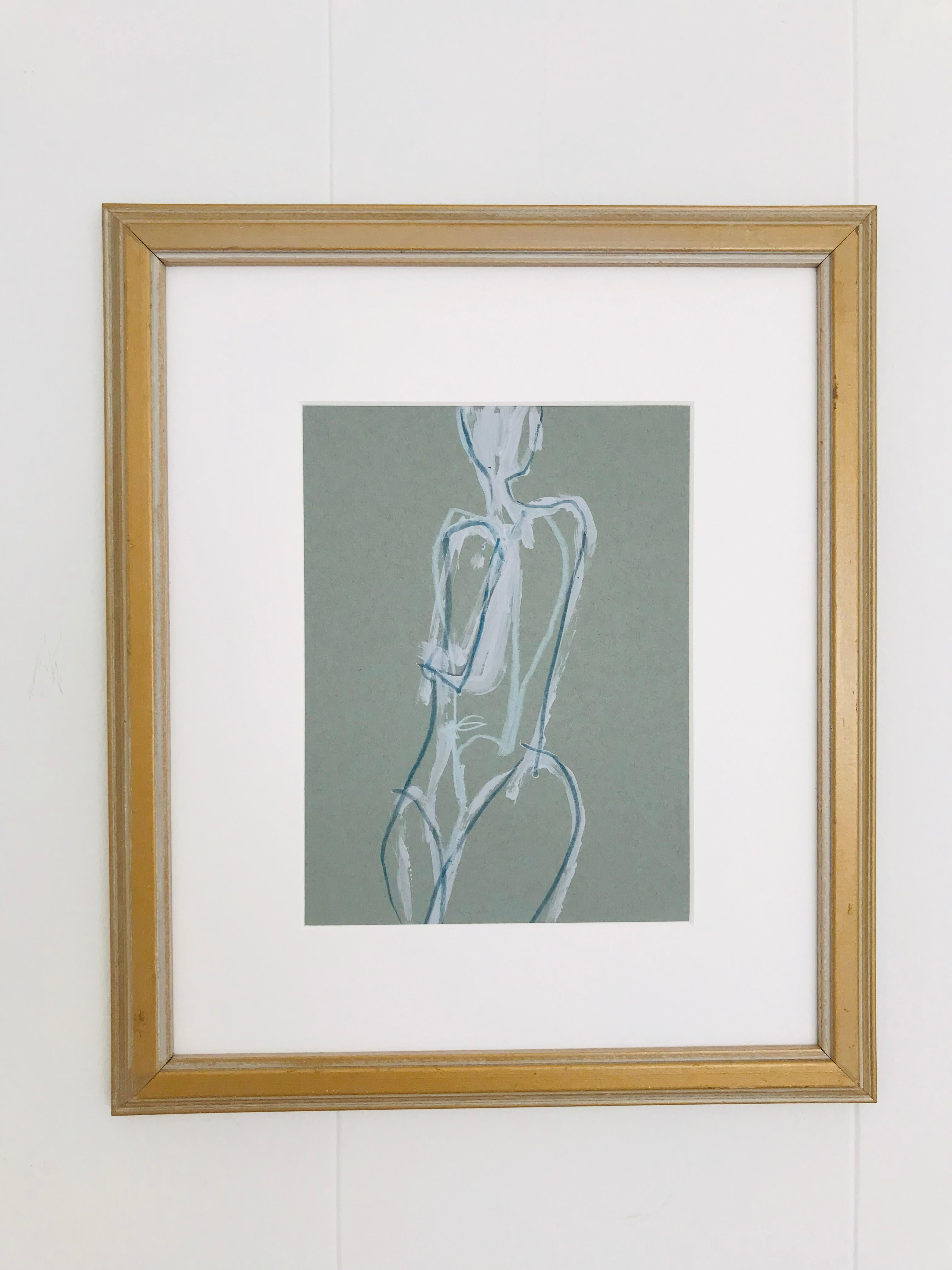 Twist, Abstract Nude, Acrylic and Mixed Media on Paper, Vintage Frame, Signed