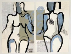 Tennis Star+Devils Ballroom, Abstract Figurative, Mixed Media on Paper, Signed