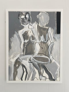 Alter Ego, Abstract Figurative, Acrylic on Paper, White Wood Frame, Signed