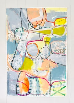 She Can Dance, Abstract Figurative, Mixed Media on Paper, Deckled Edge, Signed