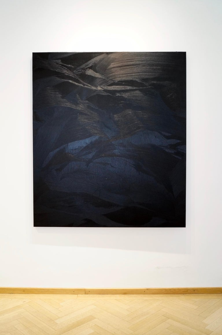 untitled, 2017, oil, canvas, abstract painting, blue, black, Scandinavian art - Painting by Magnus Thorén