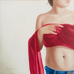untitled oil, canvas, photorealistic, figurative, woman, hyperrealism, torso