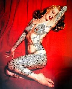 Marilyn, 2011, Inkdrawing, printed paper, female, body art, tattoo, model