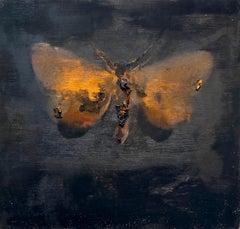 moth, 2015, oil on wood, figurative painting, animals, Scandinavian art