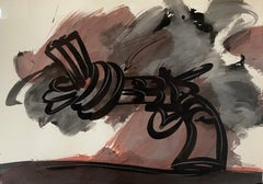untitled, Knotted-Gun 1986, Non-Violence, gouache on paper