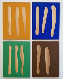 Mr. Blue, Mr. Green, Mr. Brown, Mr. Orange,  tempera on copper on panel.