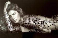 Gisele Bündchen, 2013, ink-drawing, printed paper, female, body art, tattoo,