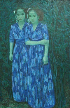 """Guang Tingbo, """"Twin Sisters T0023"""" Oil on canvas C1992 with original Artist coa"""