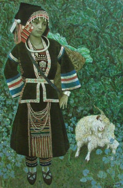 "Guang Tingbo ""Sheep Tending Girl"" T0010 Oil on Canvas, Coa from the Artist"