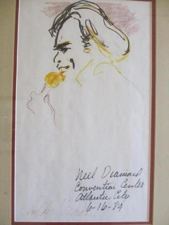 "Leroy Neiman Original Pen & Ink Signed ""Neil Diamond"""