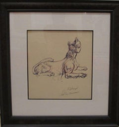 "Leroy Neiman Framed ""Portrait Study of Sphinx"" Original Hand Signed Pen and Ink"