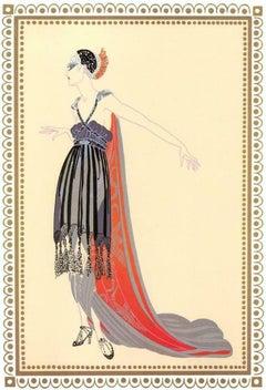 "Erte, ""Scheherazade Vamps Seductress"" 1918 Gouache"