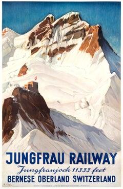 """Jungfrau Railway"" Original Vintage Ski Poster"