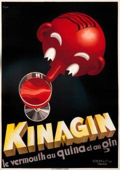 """Kinagin le vermouth au Quina el au Gin"" Original Art Deco Spirits Poster"