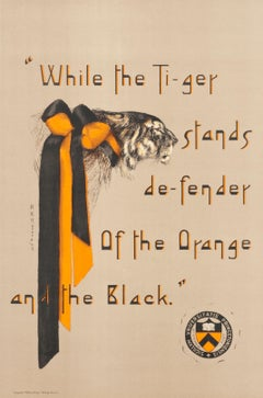 """While the Tiger stands de-fender..."" Original Vintage Princeton Print"