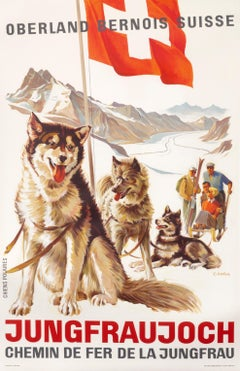 """Jungfraujoch"" Original Vintage Swiss Ski poster"