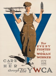 """Care for her through the YWCA"" Original Antique WW1 Poster"