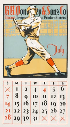 """RR Donnelley & Sons Co - July"" Original Vintage Calendar Poster - Baseball 1920"