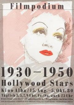 """Filmpodium: 1930 - 1950 Hollywood Stars"" Original Vintage Film Festival Poster"