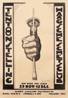 """Tentoonstelling Haagsche Schetsclub"" Original Vintage Dutch Exhibition Poster"