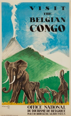 """Visit the Belgian Congo"" Original Vintage Safari Travel Poster 1930s"