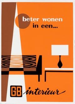 """""""Beter Wonen - GB Interieur"""" Original Vintage Interior Design Poster"""