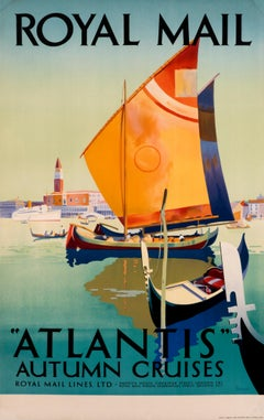 """""Atlantis' Autumn Cruises - Royal Mail Line"" Original Vintage Maritime Poster"